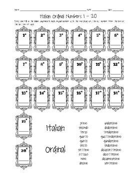 Italian Ordinal Numbers 1-20 Worksheet by Sunny Side Up Resources