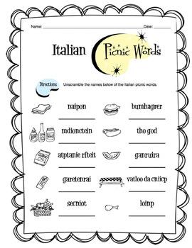Italian Picnic Items Worksheet Packet