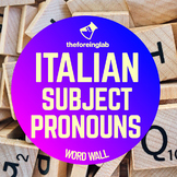 Italian Subject Pronouns Word Wall