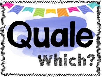 Italian Question Word Posters ~ Water Color Themed