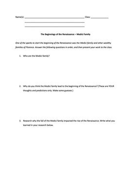 Italian Renaissance PowerPoint with Test, Worksheets, and Reading Materials