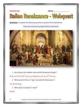 Italian Renaissance - Webquest with Key
