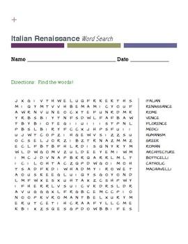 Italian Renaissance Word Search