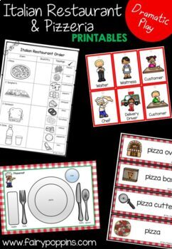 Italian Restaurant and Book Cafe Role Play Pack (Dramatic Play)