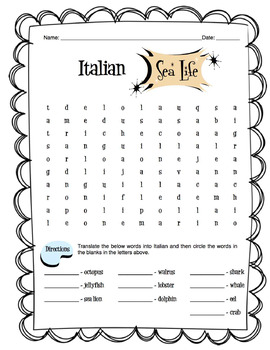Italian Sea Life Worksheet Packet