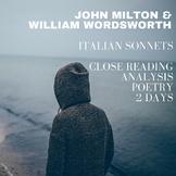 Italian Sonnets Close Reading Lesson: John Milton & Willia