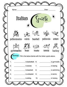 italian sports worksheet packet by sunny side up resources tpt. Black Bedroom Furniture Sets. Home Design Ideas