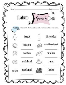 Italian Sweets & Treats Worksheet Packet