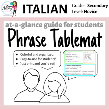 Italian Table Mat - Speaking Phrases for Participation - FREE