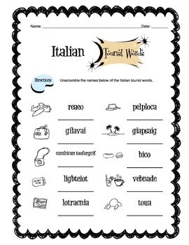 Italian Tourist Items Worksheet Packet