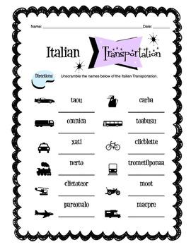 Italian Transportation Worksheet Packet