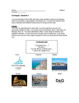 Italian Travel Information Gap Activity