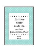 Italian Tutto su di me ~ Student Information Sheet