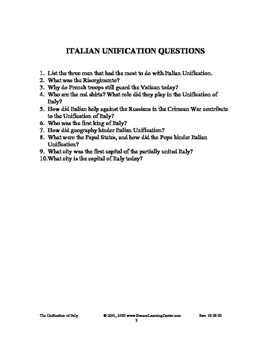 Italian Unification Notes/ outline