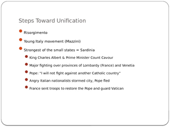 Italian Unification: Teacher and Student Notes- PPT
