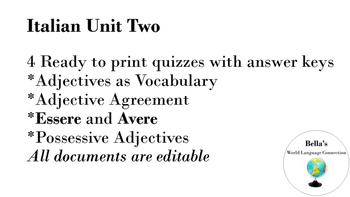 Italian Unit 2 Quizzes and Answer Keys