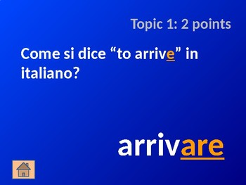 Italian Verb Cognates: Part 1 - Jeopardy Game
