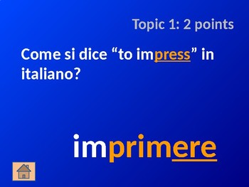 Italian Verb Cognates: Part 2 - Jeopardy Game