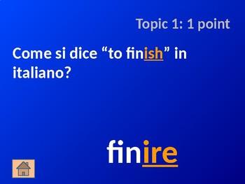 Italian Verb Cognates: Part 2 - Jeopardy Game