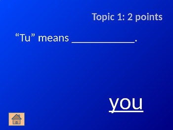Italian Verb Jeopardy Game