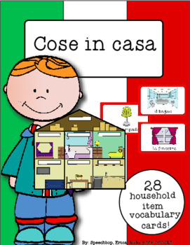 Italian Vocabulary Cards - Household Items (Cose in casa)