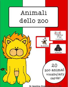 Italian Vocabulary Cards - Zoo Animals (Animali dello zoo)