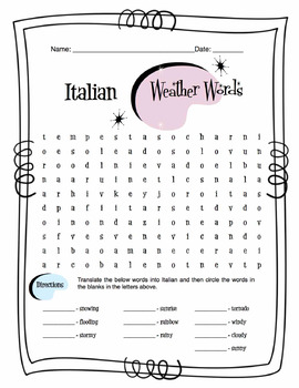 italian weather words worksheet packet by sunny side up resources. Black Bedroom Furniture Sets. Home Design Ideas