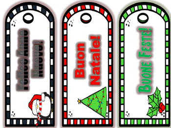 Italian  Winter Holiday Bookmarks