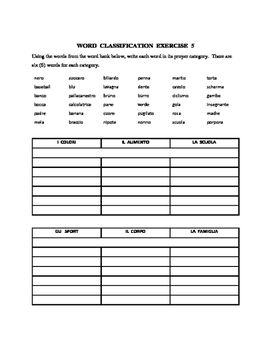 Italian Word Classification Exercises (5)   (revised)