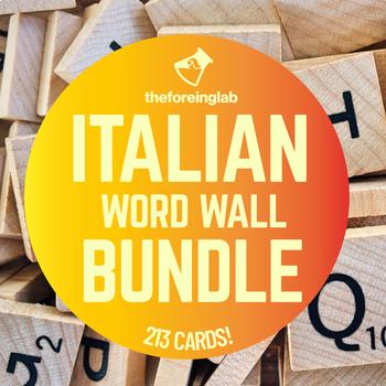 Italian Word Wall Bundle   213 Verbs, Cognates, Pronouns, Words