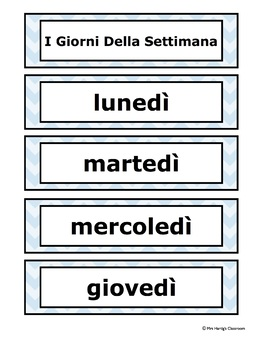 Italian Word Wall - Days of the Week, Months of the Year, Seasons