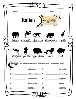 Science Skills Worksheets Excel Italian Zoo Animals Worksheet Packet By Sunny Side Up Resources  Tpt Build Sentences Worksheets with Free Worksheets Excel Italian Zoo Animals Worksheet Packet High School Vocabulary Worksheets