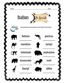 Letter A Preschool Worksheets Italian Zoo Animals Worksheet Packet By Sunny Side Up Resources  Tpt 2ng Grade Math Worksheets with Call For Fire Worksheet Italian Zoo Animals Worksheet Packet 6th Grade Math Word Problems Worksheets Word
