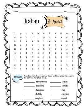 Italian Zoo Animals Worksheet Packet