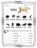 Italian Zoo Animals Worksheet Packet