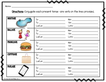 Italian -are verbs conjugation pack