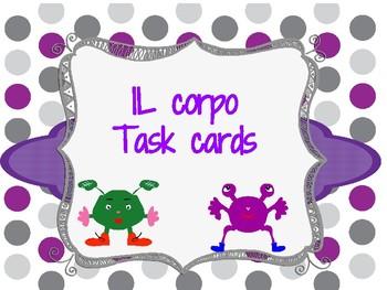 Italian body parts parti del corpo task cards