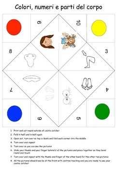 Italian cootie catcher Body parts, numbers and colors colori, corpo