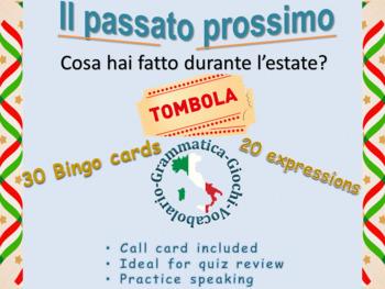 Italian first day of school Bingo game il passato prossimo preterite