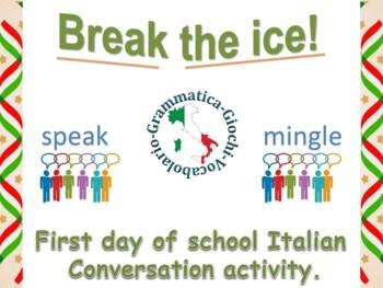Italian first day of school activity