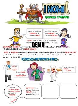 Italian grammar: names,ebook di 16 pagine con tutti i nomi