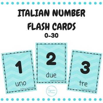 Italian number flash cards 0-30