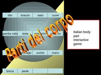 Italian parti del corpo powerpoint ** Editable* Parts of the body