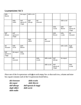 Italian preposition DA Sudoku