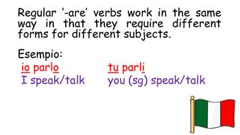 Italian regular '-are' verbs PowerPoint