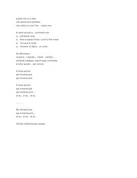 Italian song PER DIMENTICARE