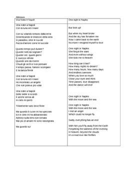 Italian songs:UNA NOTTE A NAPPOLI