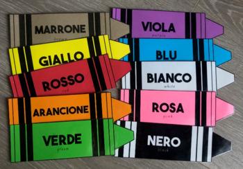 Italian and English Colour Crayon Poster