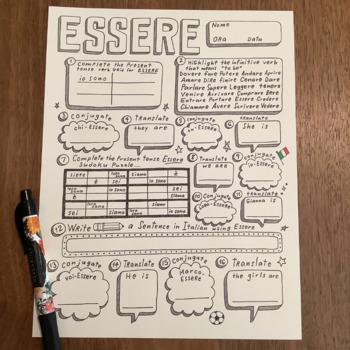 Italian verb Essere verb conjugation practice translation no prep Italian verbs