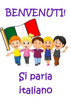Italian welcome BENVENUTI classroom poster